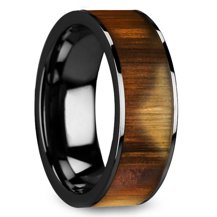 The Mediterranean - 8mm Black Ceramic Mens Band with Olive Wood Inlay | 02