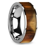Olive Wood Inlay Men's Ring in Tungsten | Thumbnail 02