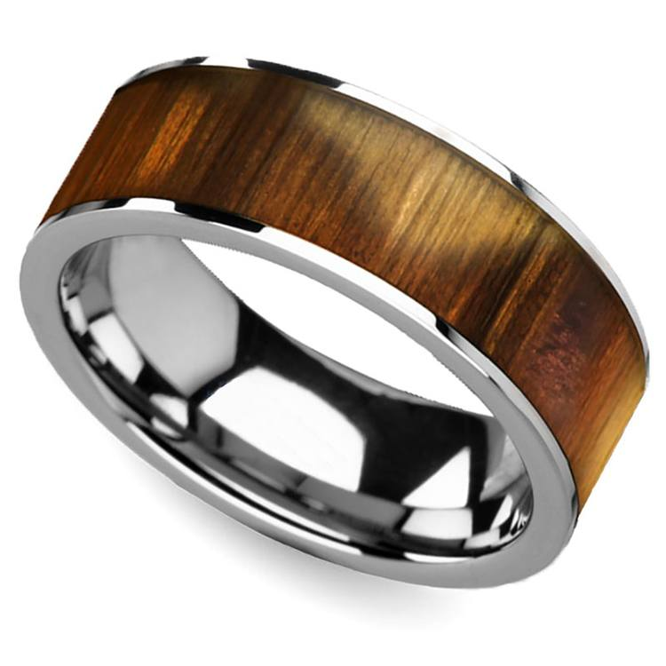 Olive Wood Inlay Men's Ring in Tungsten | 01