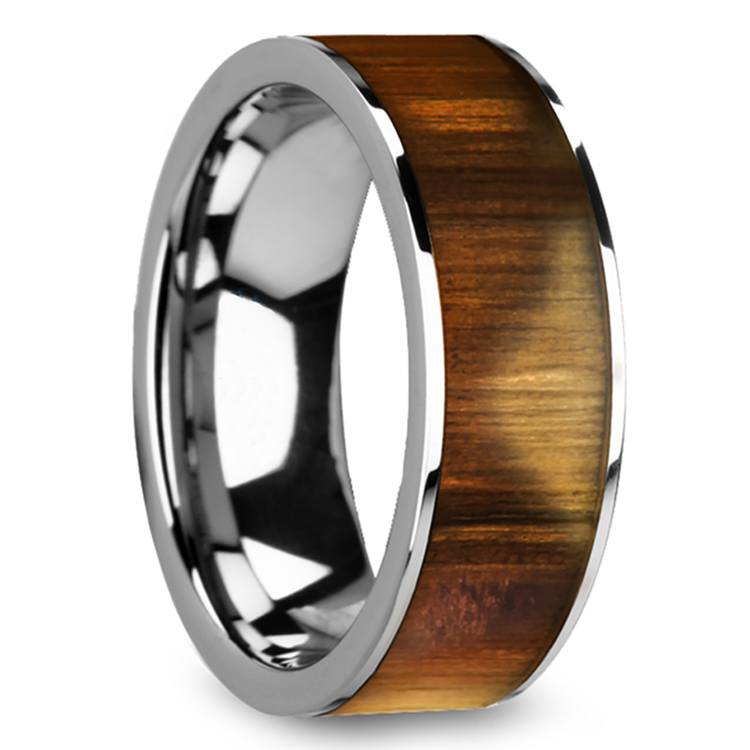 Olive Wood Inlay Men's Ring in Tungsten | 02