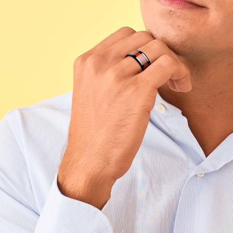 Padauk Real Wood Inlay Men's Beveled Ring in Black Ceramic (10mm) | 05