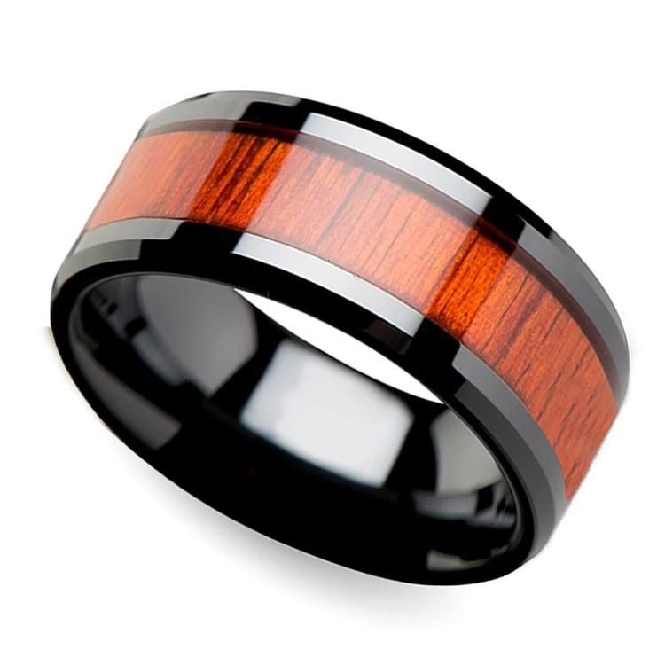 Padauk Real Wood Inlay Men's Beveled Ring in Black Ceramic (10mm) | 01