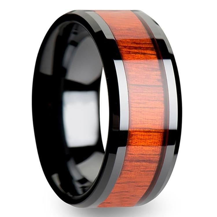 Padauk Real Wood Inlay Men's Beveled Ring in Black Ceramic (10mm) | 02
