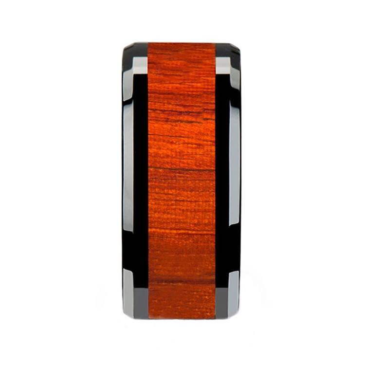 Padauk Real Wood Inlay Men's Beveled Ring in Black Ceramic (10mm) | 03