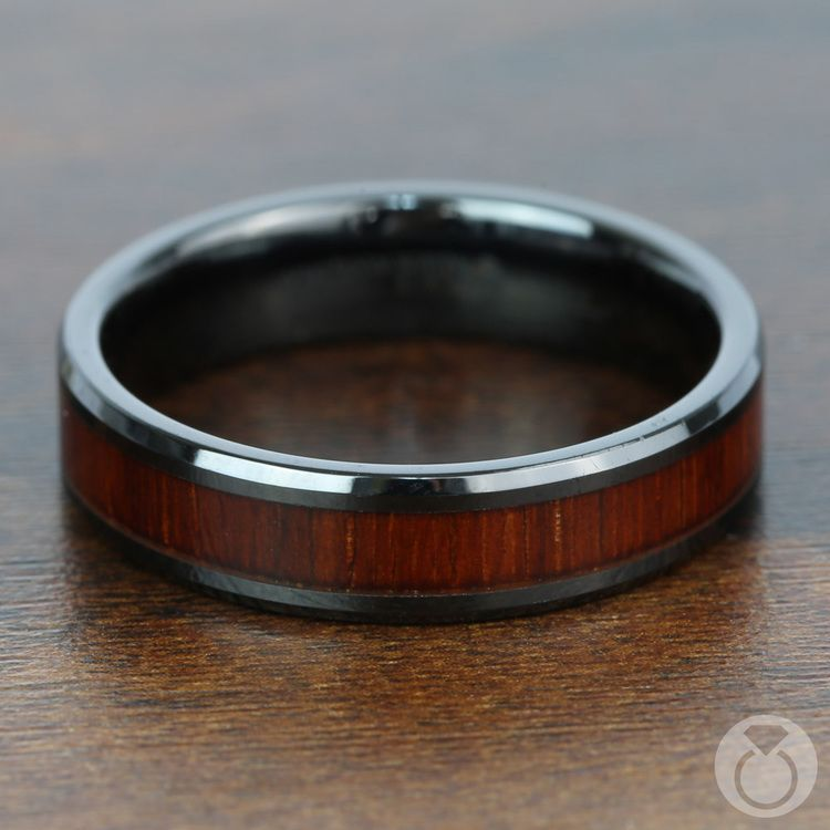 Padauk Real Wood Inlay Men's Beveled Ring in Black Ceramic (6mm) | 04