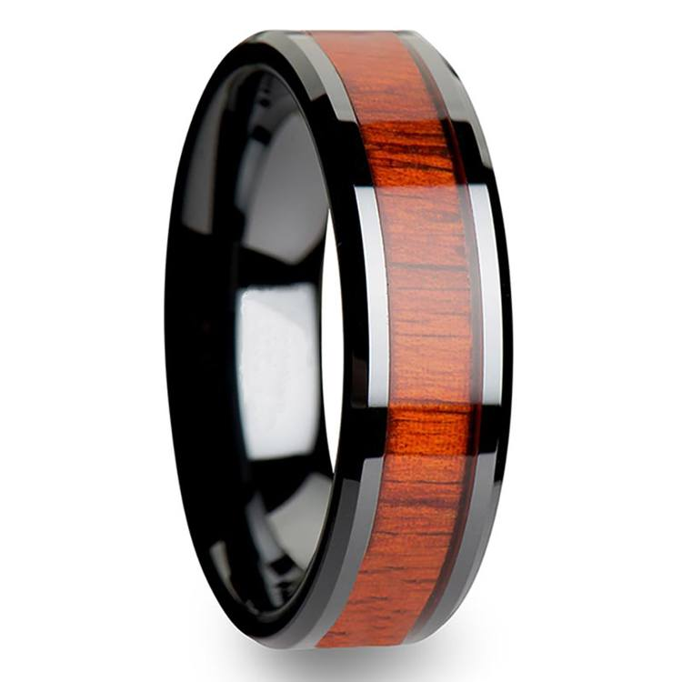 Padauk Real Wood Inlay Men's Beveled Ring in Black Ceramic (6mm) | 02
