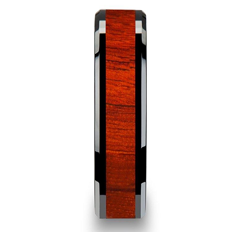 Padauk Real Wood Inlay Men's Beveled Ring in Black Ceramic (6mm) | 03