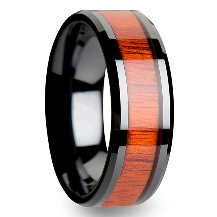 Tiger - Black Ceramic Mens Ring with Padauk Wood Inlay | 02