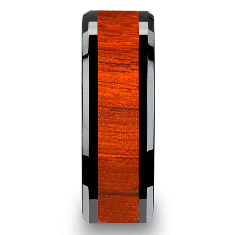 Tiger - Black Ceramic Mens Ring with Padauk Wood Inlay | 03