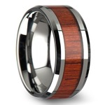 Padauk Real Wood Inlay Men's Beveled Ring in Tungsten (10mm) | Thumbnail 02