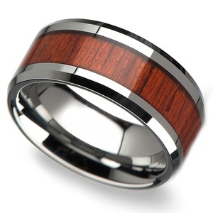 Padauk Real Wood Inlay Men's Beveled Ring in Tungsten (10mm)