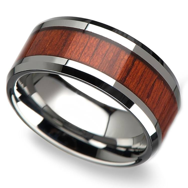 Padauk Real Wood Inlay Men's Beveled Ring in Tungsten (10mm) | 01