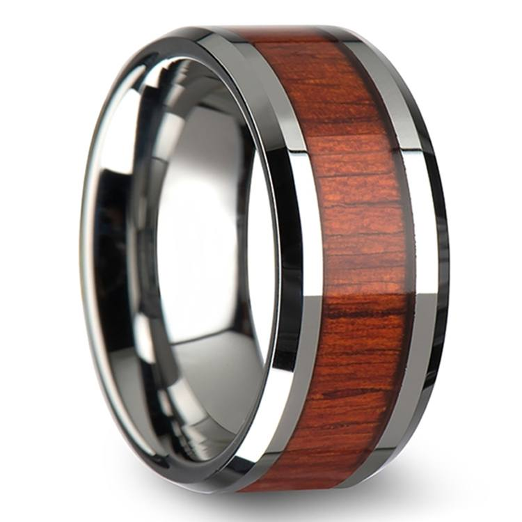 Padauk Real Wood Inlay Men's Beveled Ring in Tungsten (10mm) | 02