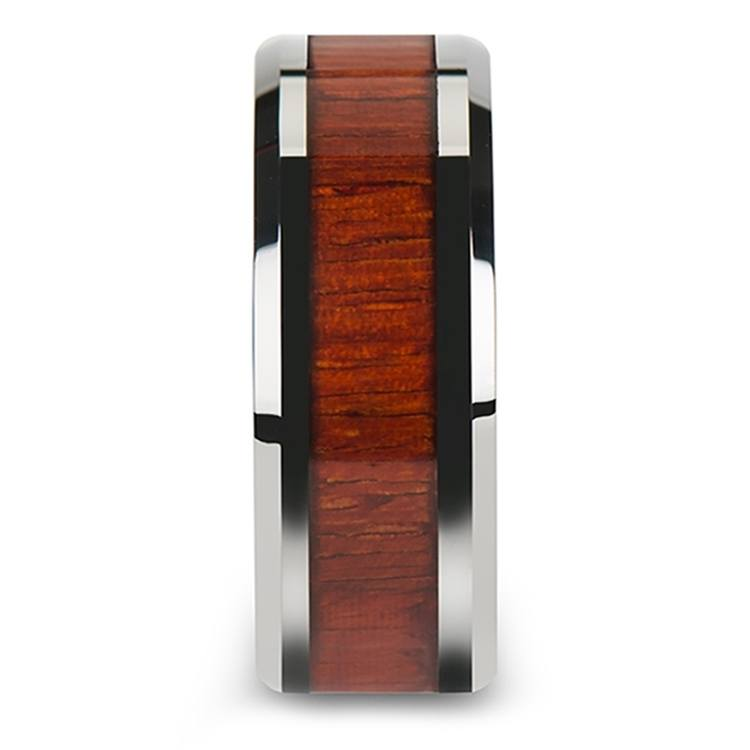 Padauk Real Wood Inlay Men's Beveled Ring in Tungsten (10mm) | 03
