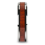 Padauk Real Wood Inlay Men's Beveled Ring in Tungsten (6mm) | Thumbnail 03
