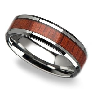 Red Tide - 6mm Tungsten Mens Band with Padauk Real Wood Inlay