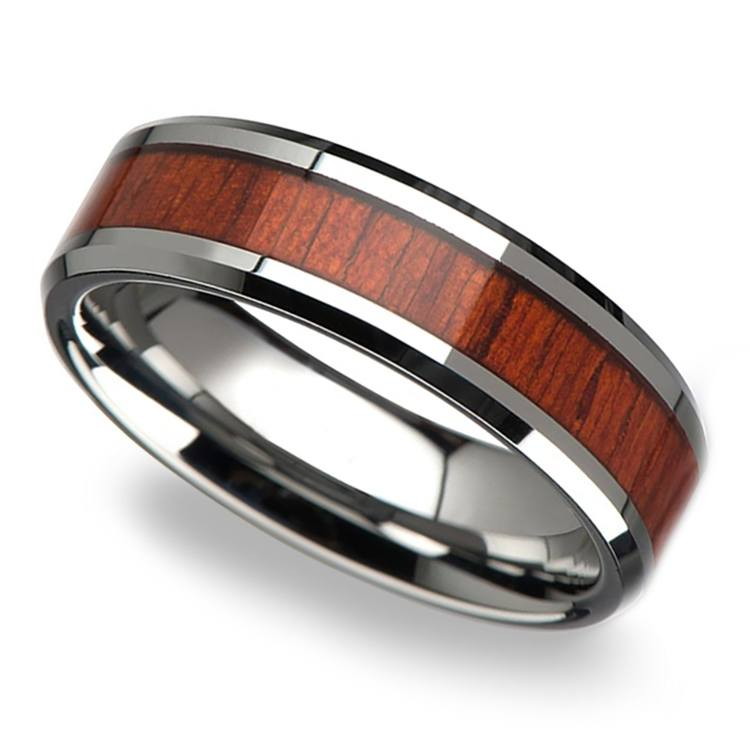 Padauk Real Wood Inlay Men's Beveled Ring in Tungsten (6mm) | 01