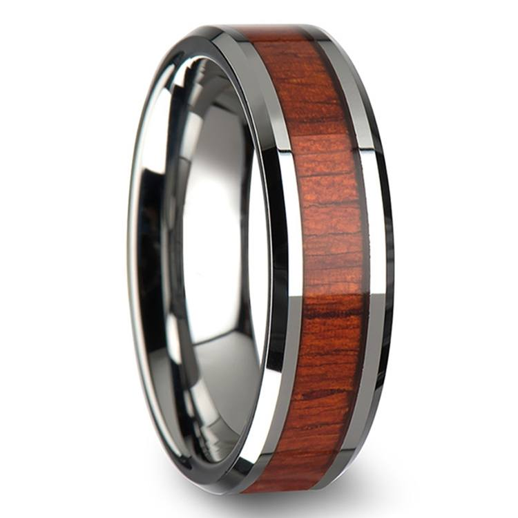 Padauk Real Wood Inlay Men's Beveled Ring in Tungsten (6mm) | 02