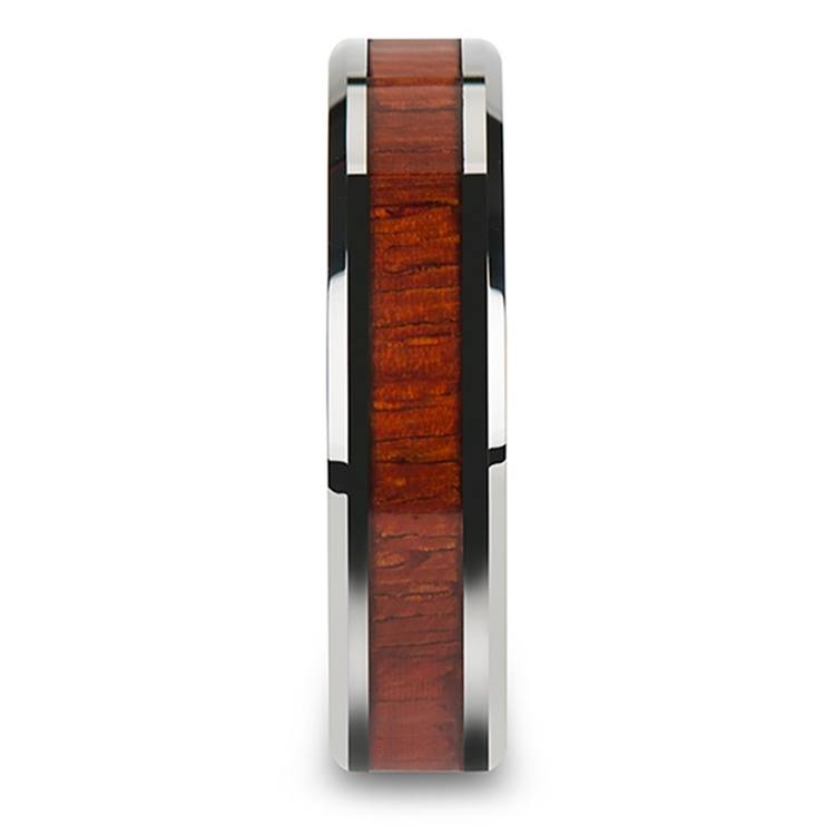 Padauk Real Wood Inlay Men's Beveled Ring in Tungsten (6mm) | 03