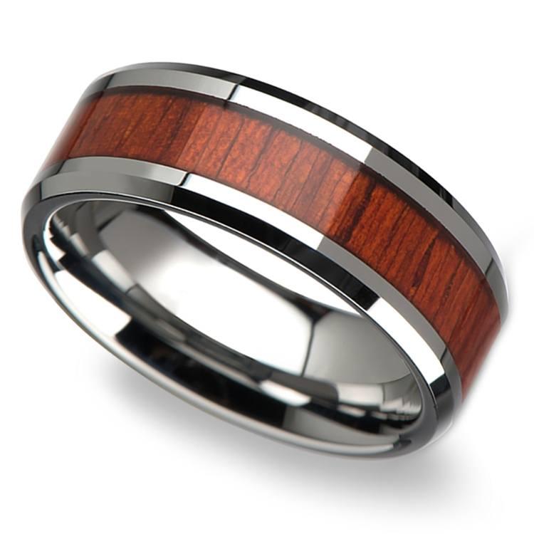 Padauk Real Wood Inlay Men's Beveled Ring in Tungsten (8mm) | 01