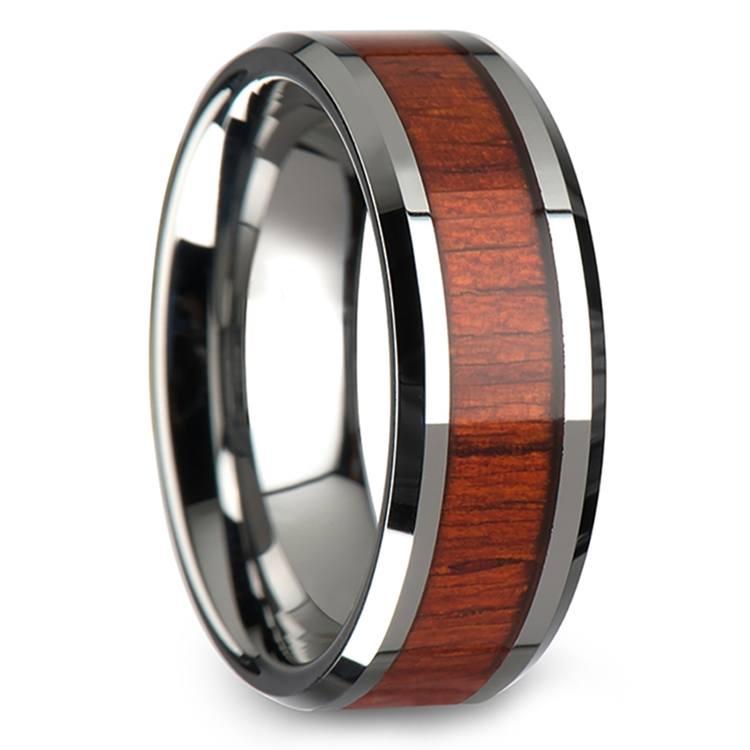 Padauk Real Wood Inlay Men's Beveled Ring in Tungsten (8mm) | 02