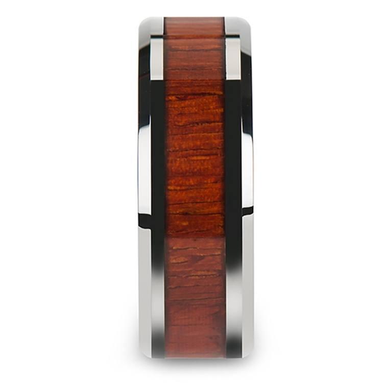Padauk Real Wood Inlay Men's Beveled Ring in Tungsten (8mm) | 03