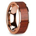 Padauk Wood Inlay Men's Wedding Band in Rose Gold | Thumbnail 02
