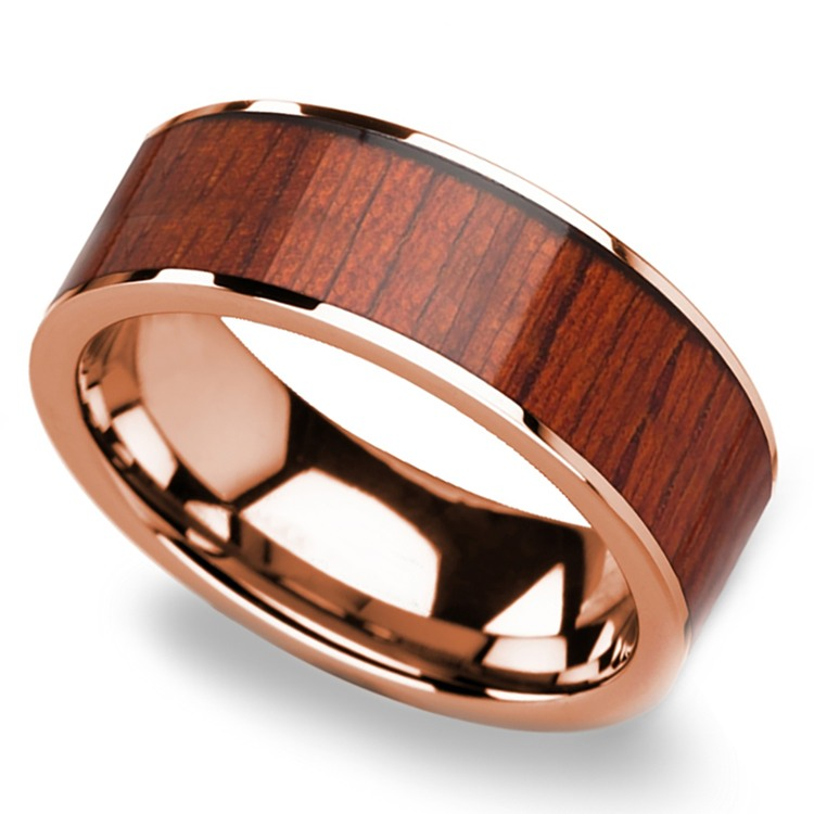 Padauk Wood Inlay Men's Wedding Band in Rose Gold | 01