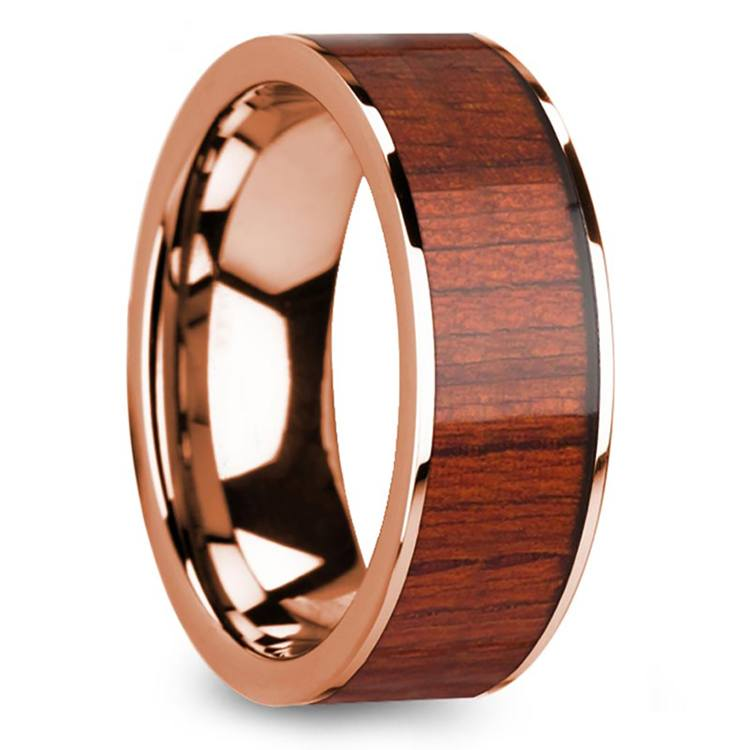 Padauk Wood Inlay Men's Wedding Band in Rose Gold | 02