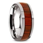 Vermillion - Domed Tungsten Mens Band in Padauk Wood Inlay | Thumbnail 02