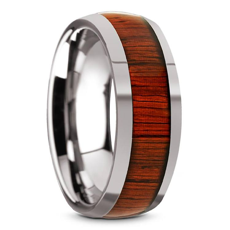 Vermillion - Domed Tungsten Mens Band in Padauk Wood Inlay | 02