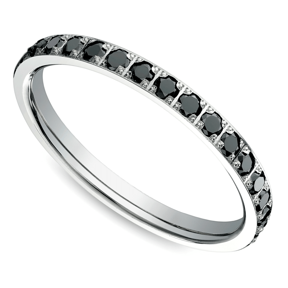 pave black diamond eternity ring in white gold - Wedding Rings With Black Diamonds