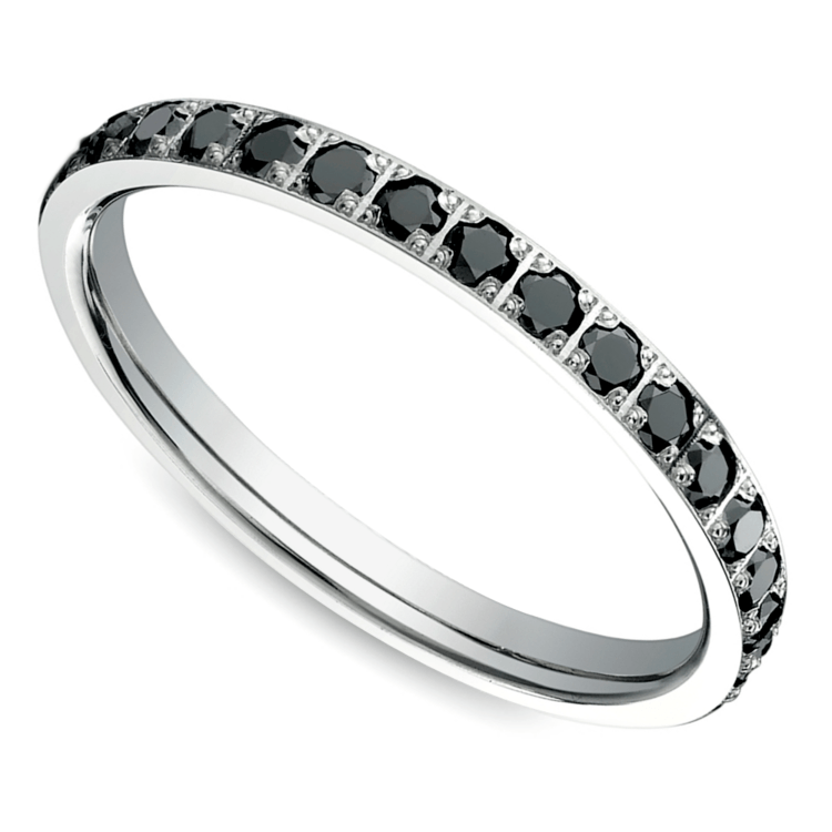Pave Black Diamond Eternity Ring in White Gold | 01