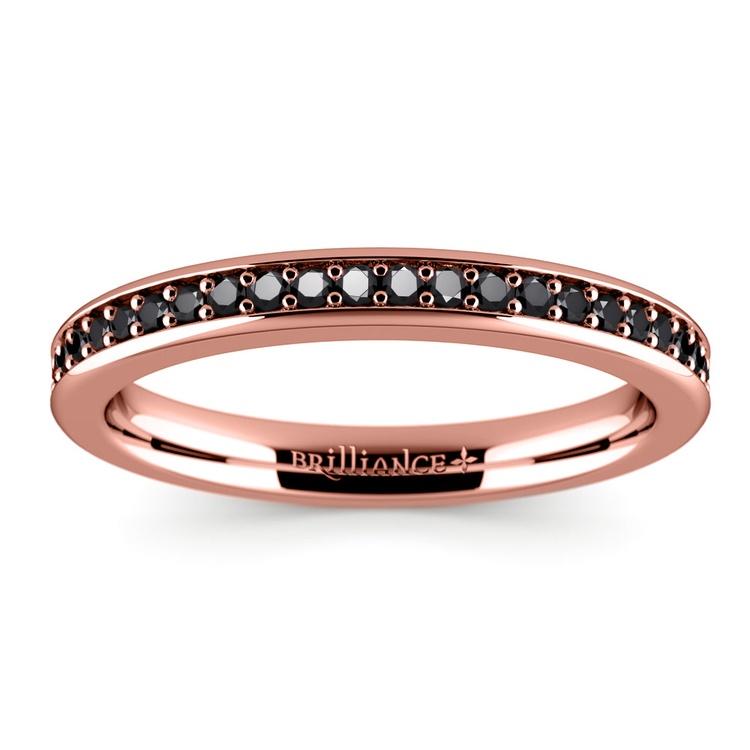 Pave Black Diamond Wedding Ring in Rose Gold   02