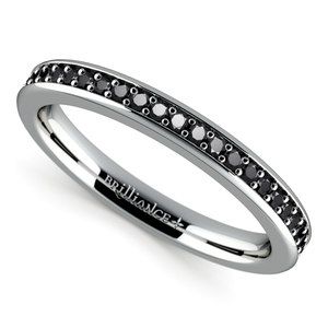 Pave Black Diamond Wedding Ring in White Gold