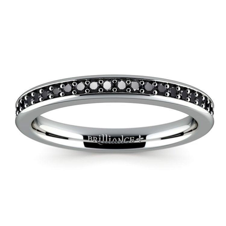 Pave Black Diamond Wedding Ring in White Gold | 02