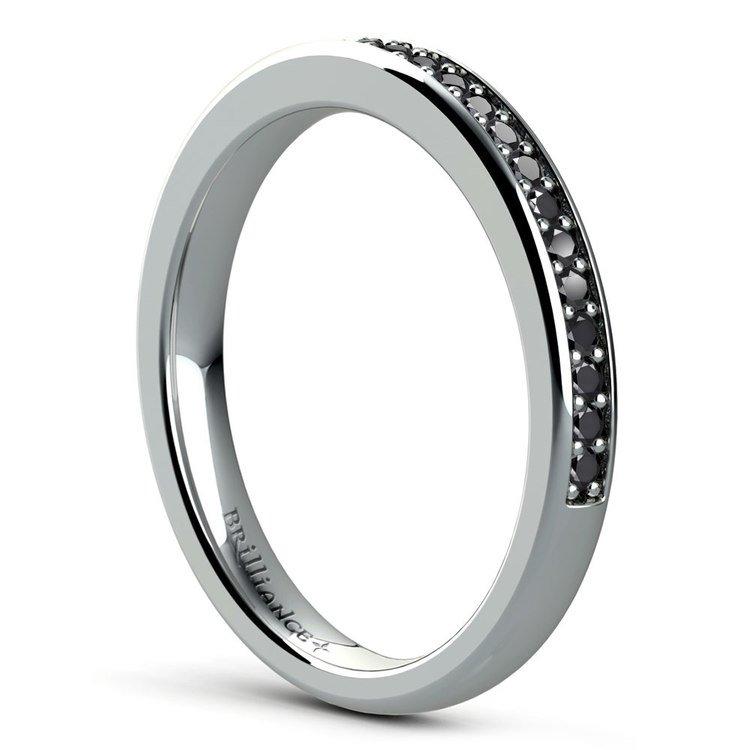 Pave Black Diamond Wedding Ring in White Gold | 04