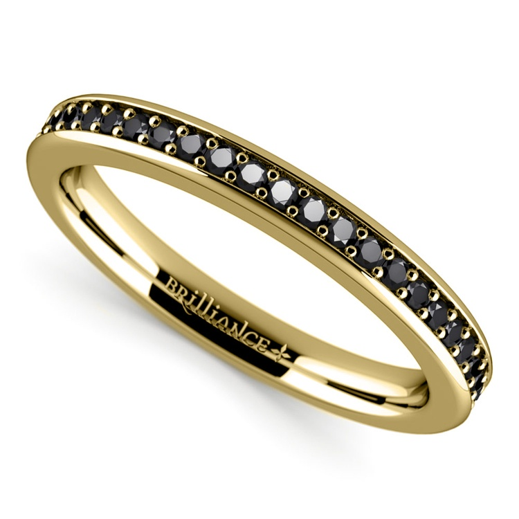 Pave Black Diamond Wedding Ring In Yellow Gold