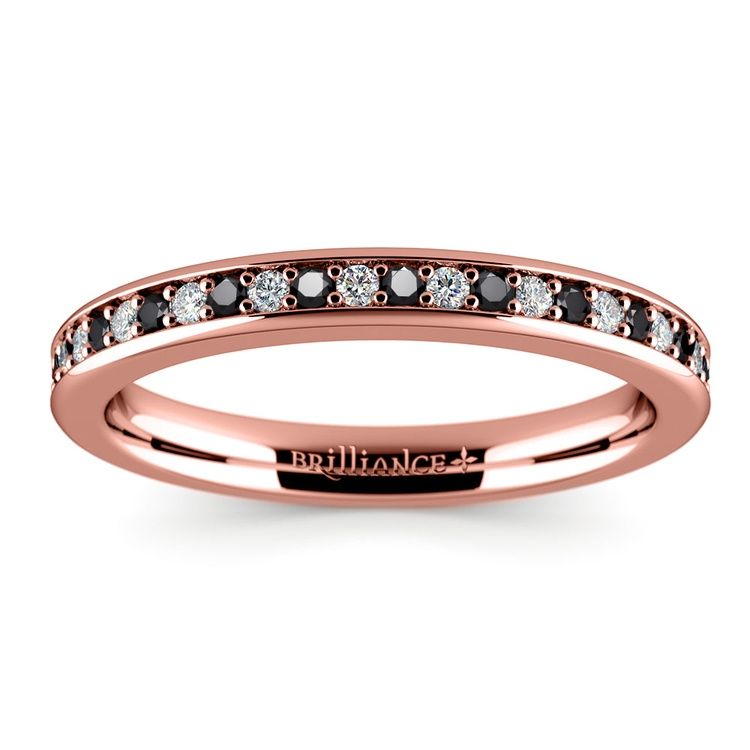 Pave Black & White Diamond Wedding Ring in Rose Gold | 02