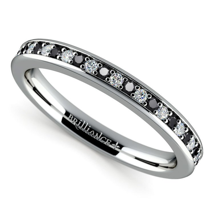 Pave Black & White Diamond Wedding Ring in White Gold | 01