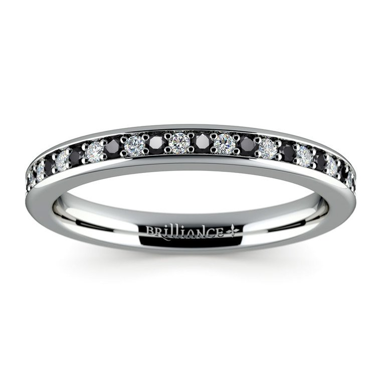 Pave Black & White Diamond Wedding Ring in White Gold | 02