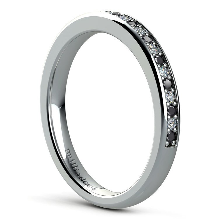 Pave Black & White Diamond Wedding Ring in White Gold | 04