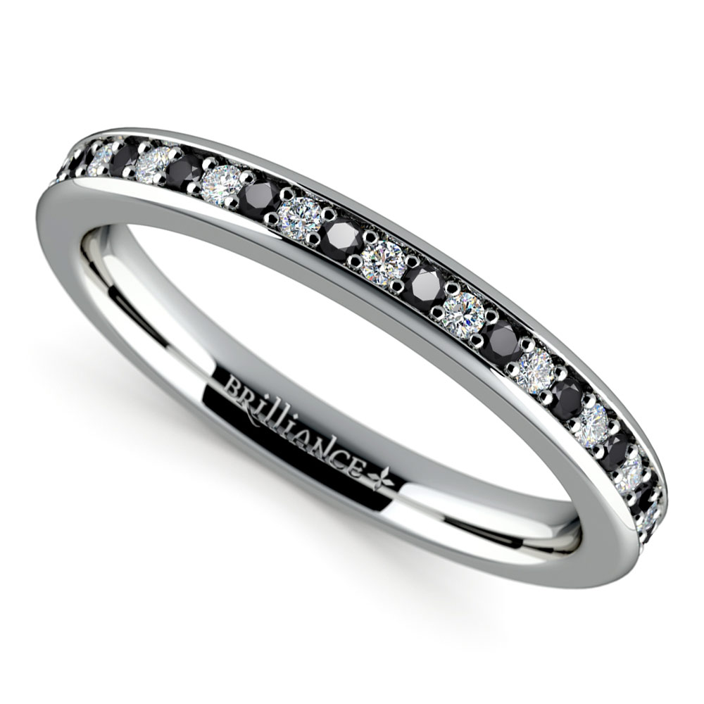 wedding rings with black diamonds pave black amp white wedding ring in white gold 1084