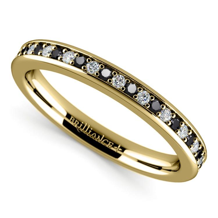 Pave Black & White Diamond Wedding Ring in Yellow Gold | 01