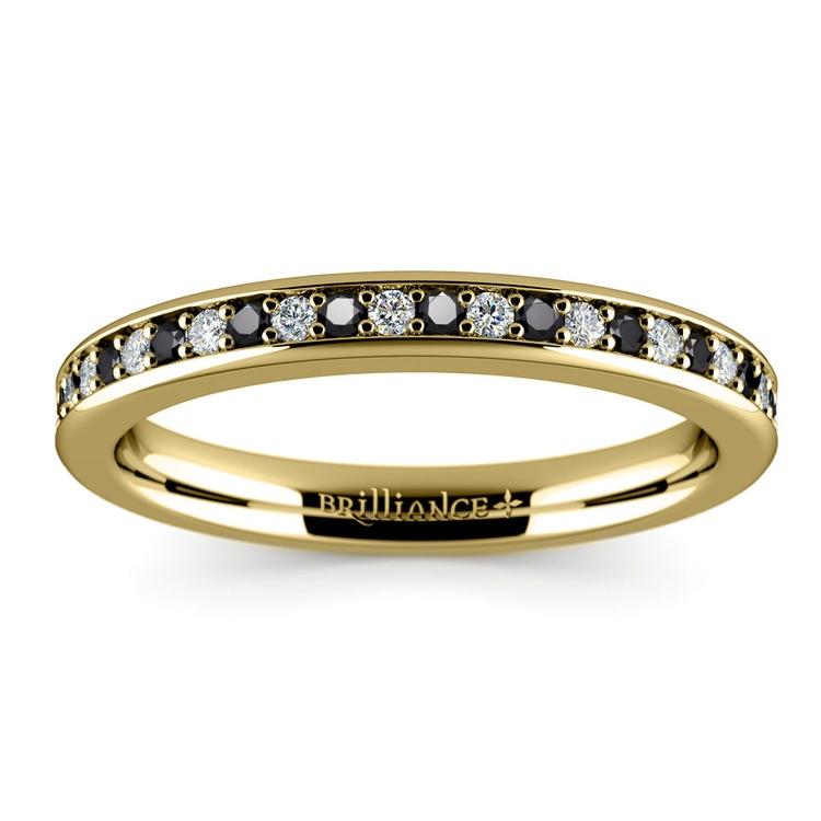Pave Black & White Diamond Wedding Ring in Yellow Gold | 02
