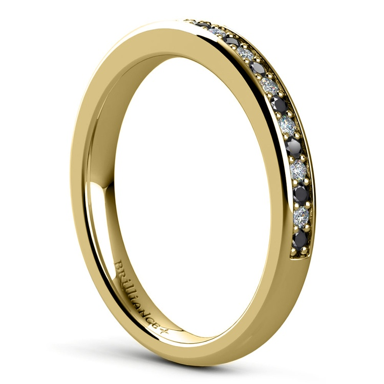 Pave Black & White Diamond Wedding Ring in Yellow Gold | 04