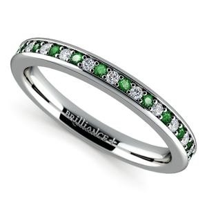 Pave Diamond & Emerald Wedding Ring in Platinum