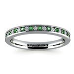 Pave Diamond & Emerald Wedding Ring in White Gold | Thumbnail 02