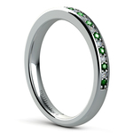 Pave Diamond & Emerald Wedding Ring in White Gold | Thumbnail 04