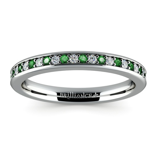pave diamond emerald wedding ring in white gold - Emerald Wedding Ring
